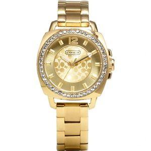 Coach Boyfriend Logo Women's Watch Yellow Gold